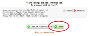 Once you have checked selecting your adviser, date and time, click 'Next'.