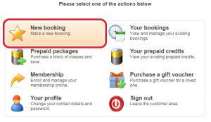 Choose 'New booking'.